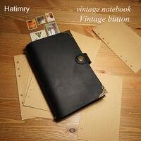 Hatimry Echtem leder sparil journal notebook 100 stücke blätter vintage reisende bücher skizze papier gravieren name schulbedarf