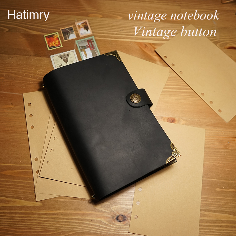Hatimry Genuine leather sparil journal notebook 100pcs sheets vintage travelers books sketch paper engrave name school supplies