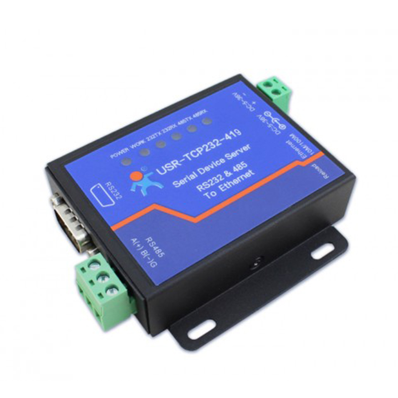 Q118 USR-TCP232-419 9 Pin RS232 RS485 Ethernet to Serial Converter DTR/DSR Ethernet Server rs232 to rs485 converter with optical isolation passive interface protection