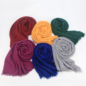 Image 5 - M MISM Free Shipping Ethnic Oversize Muslim Crinkle Hijab Head Scarf Women Solid Bubble Cotton Shawls And Wraps Soft Big Linen