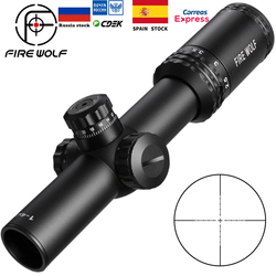 Silver 1-4X24 Riflescopes Rifle Scope Red Dot Hunting  w/ Mounts For AR15 AK