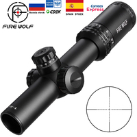 Silver 1 4X24 Riflescopes Rifle Scope Red Dot Hunting w/ Mounts For AR15 AK