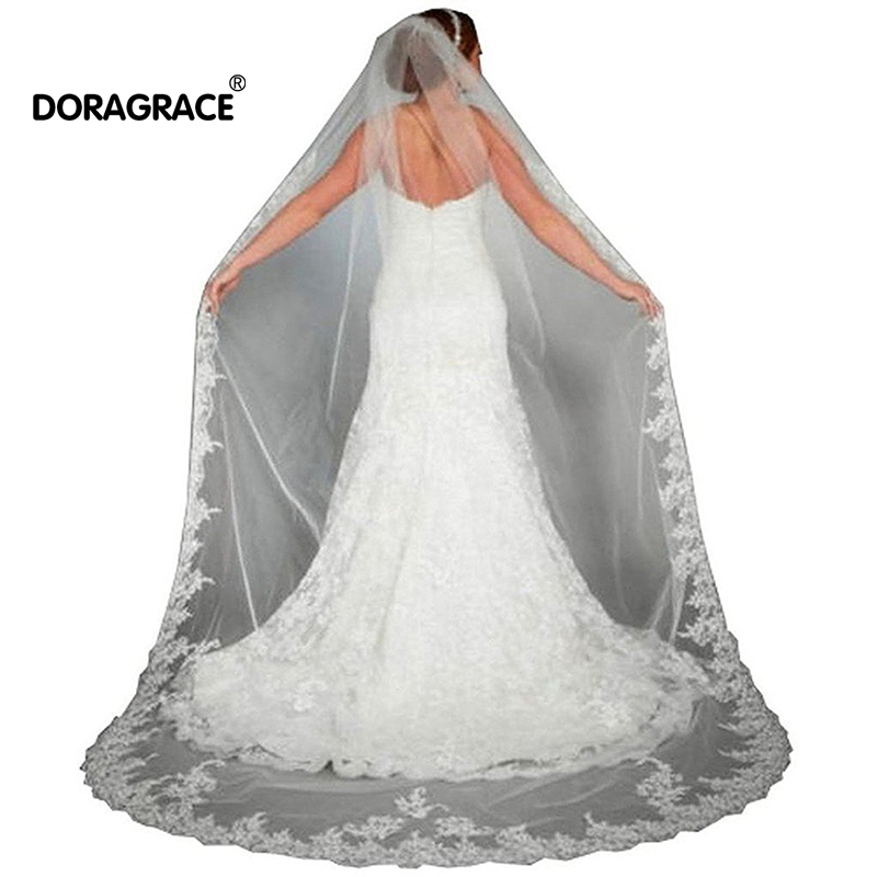 Doragrace Lace Edge Cathedral Length Long Bridal Wedding Veil With Comb