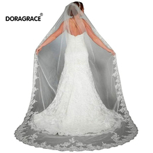 Doragrace Lace Edge Cathedral Length Long Bridal Wedding Bridal Veil With Comb