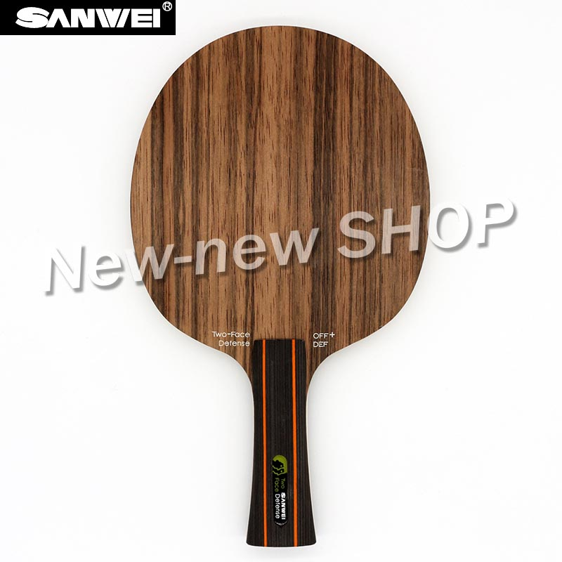 Sanwei TWO FACE (2 Face, Attack & Defence, Ebony & Hinoki Surface) Table Tennis Blade Defense Racket Ping Pong Bat Paddle