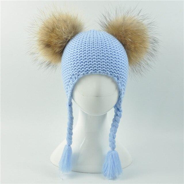 Niños invierno dos Piel auténtica pompom sombrero niños sombrero de ...