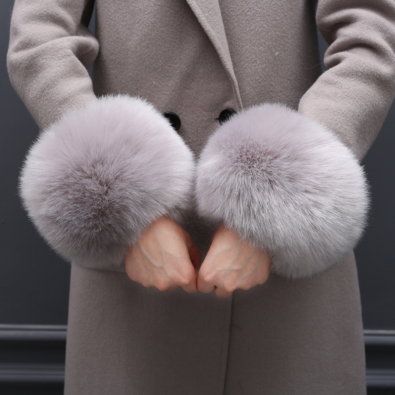 Faux Fur Autumn Winter Women's Fashion Faux Fox Fur Thermal Gloves Hand Ring Wristiest Boot Covers Fur Sleeve Cuff