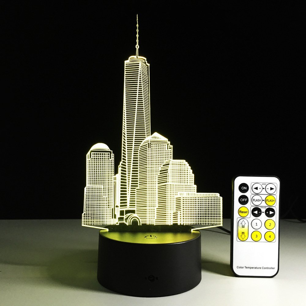 3D City Building Optical Illusion Table Desk Lamp 7 Colors Change Touch Button Remote Control Visual Night Light Drop Shipping