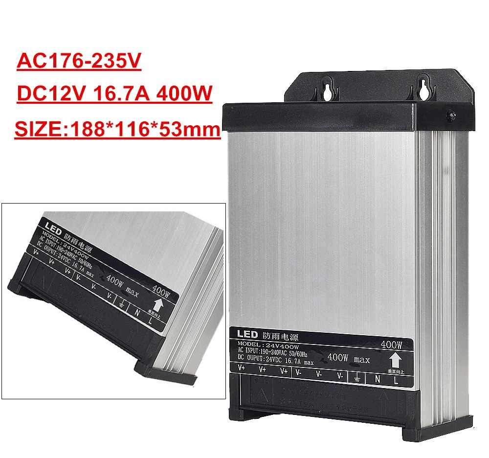 12 V LED Outdoor Regendicht Voeding DC 12 Volt 60 W 100 W 200 W 250 W 400 W LED Driver Verlichting Transformers AC176-235V