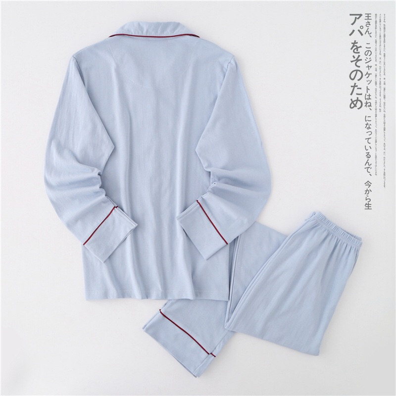 Image 5 - Casual couple Solid 100% cotton pajamas sets men autumn pijamas long sleeve sleepwear men pijamas Japanese pyjamas for male-in Men's Pajama Sets from Underwear & Sleepwears