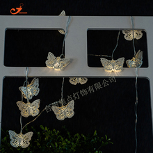 NEW 2017 Romantic Butterfly Iron Metallic 10 LED String Lights Battery Operated Colorful White Amber Bulb Lamp Garden Home Decor