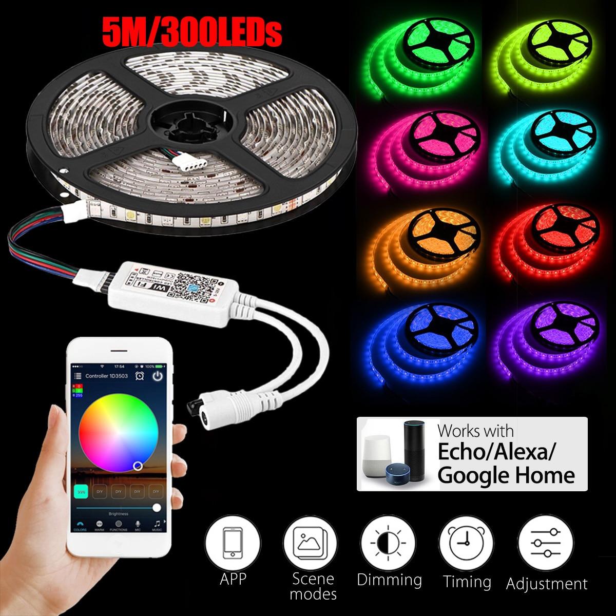 Fine Eu Plug D5050 Smart Wifi Rgb 300 Led Strip Light Streifen Waterproof Stripe App Work With Alexa Google Home 5m/16.4ft Lights & Lighting