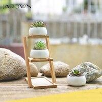 JAROWN Simulation Succulent Plant Ceramic Small Flower Pot Creative Bamboo Frame Bonsai Home Decoration Wedding Decor