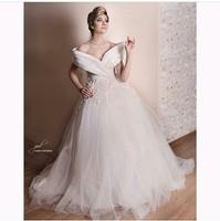 vestido de noiva 2015 Luxury Ball Gown Wedding dresses Deep V Neck Bridal Gowns with lace appliques cap sleeve robe de mariage