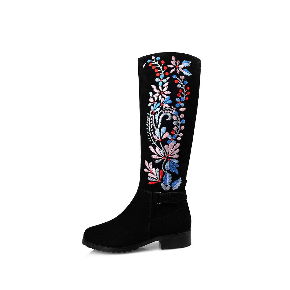 ФОТО 2017 flowers embroidery zip thigh high boots round toe med heels women shoes over the knee boots high quality zip lady boots 55