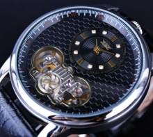 Jaragar Classic Dual Movement Design Automatic Quartz Watches Clock Mens Watches Top Brand Luxury Watch Men Skeleton Wrist Watch winner classic design transparent case golden movement inside skeleton wrist watch men watches top brand luxury mechanical watch