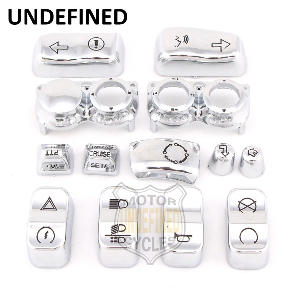 13pcs Motorbike Accessories Chrome Switch Housing Button Cap Kit For Harley Touring Electra Glide FLHTCU FLHTCUL 2016 2017 5 75 5 3 4 chrome headlight housing bucket for harley electra glide bad boy