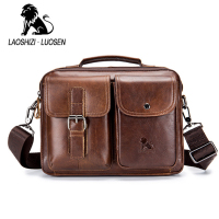 LAOSHIZI Genuine Leather Men's Handbag Casual Business Man Shoulder Crossbody Bags Cowhide Large Capacity Travel Tote Bags