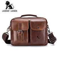 LAOSHIZI Genuine Leather Men's Handbag Casual Business Man Shoulder Crossbody Bags Cowhide Large Capacity Travel Tote Bags