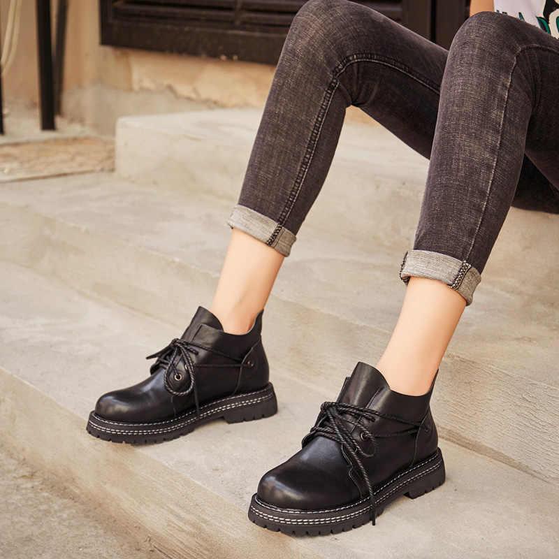 DRKANOL/Ботинки martin из натуральной кожи ручной работы; сезон осень-зима; женские ботильоны; теплые мотоботы на толстом каблуке; женская обувь