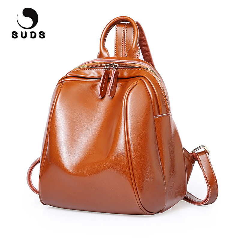 SUDS Brand Genuine Leather Backpack Women Bags High Quality Girls School Bag Female Cow Leather Travel Backpack Mochila Feminina стоимость