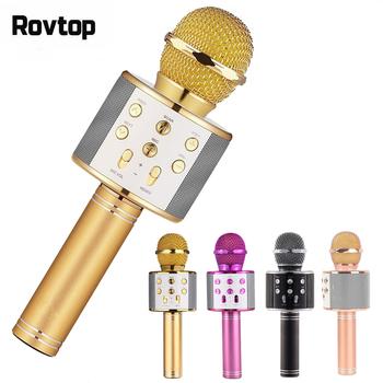 Profesjonalny bezprzewodowy mikrofon Bluetooth głośnik Karaoke KTV odtwarzacz muzyczny rejestrator śpiewu mikrofon ręczny Mic 1800Mah tanie i dobre opinie Rovtop Dynamiczny Mikrofon Karaoke mikrofon Pojedyncze Mikrofon wireless Bluetooth Wireless Microphone