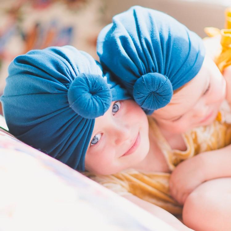 Nishine 10pcs/lot Newborn Turban Hat Cotton Blend Kids Caps Beanie Round Ball Knot Handmade Hair Accessories Christmas Gift