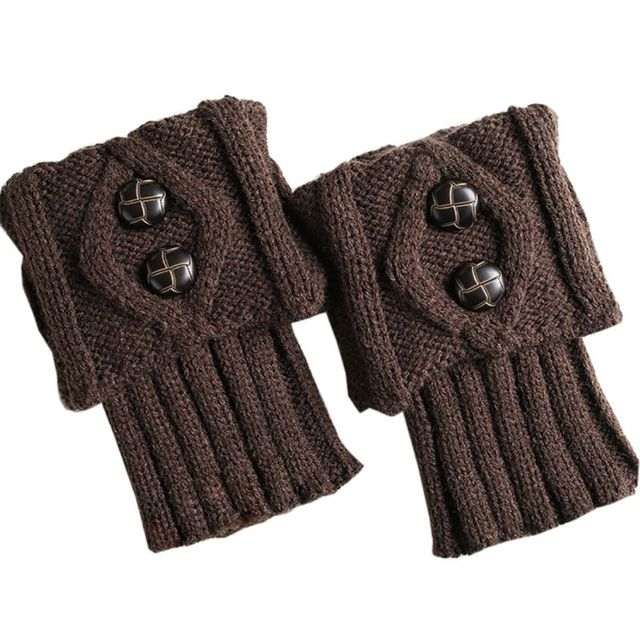 Invierno Corto Crochet Cable Knit Botón de Arranque Medias ...