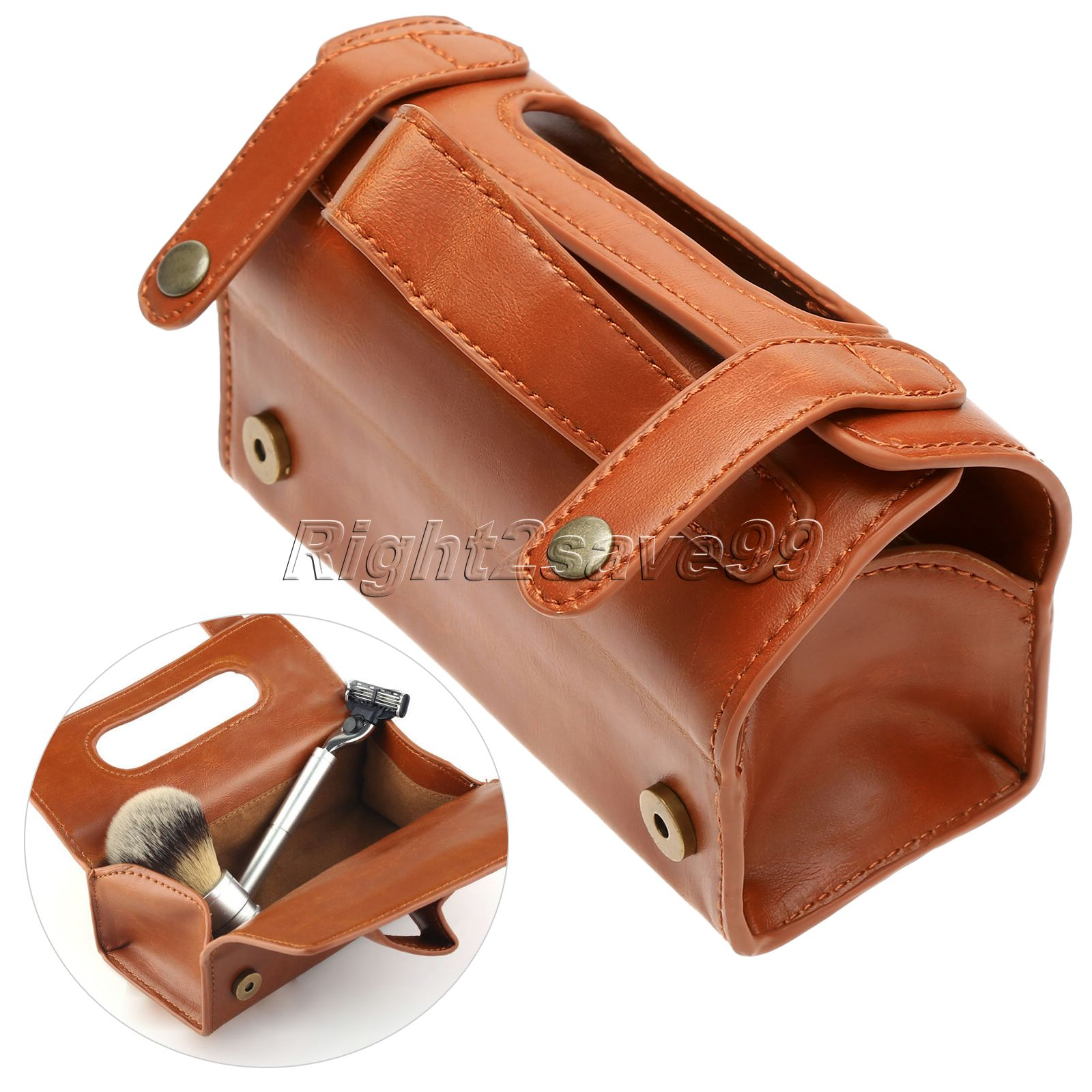 Men PU Leather Travel Toiletry Bag Shaving Wash Case Organizer Bag Dark Brown For Protect Shaver Shaving Gift Container