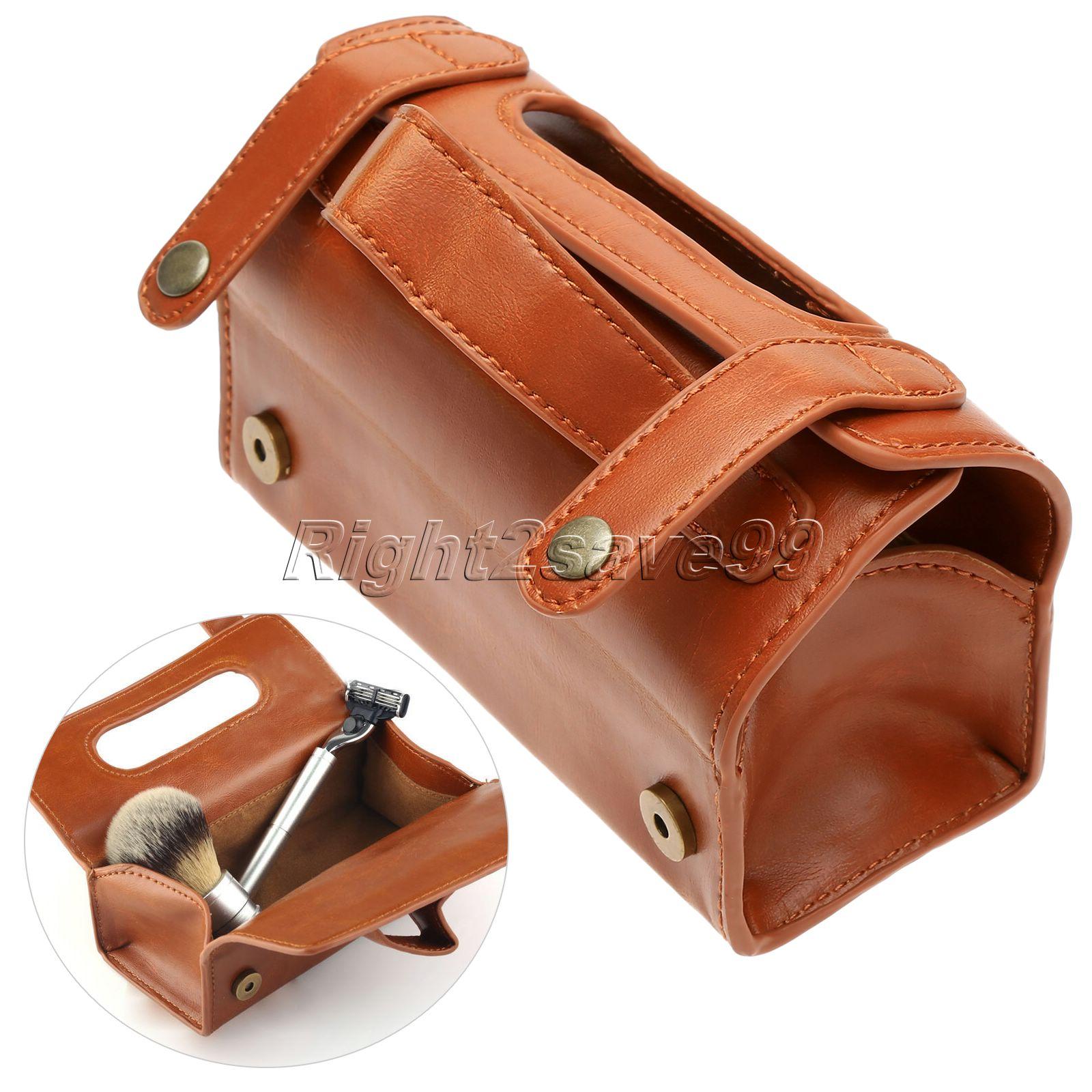 Мъжки PU кожа чанта за тоалетна чанта за измиване на чанта организатор чанта тъмно кафяво за защита на бръснене подарък контейнер за подаръци