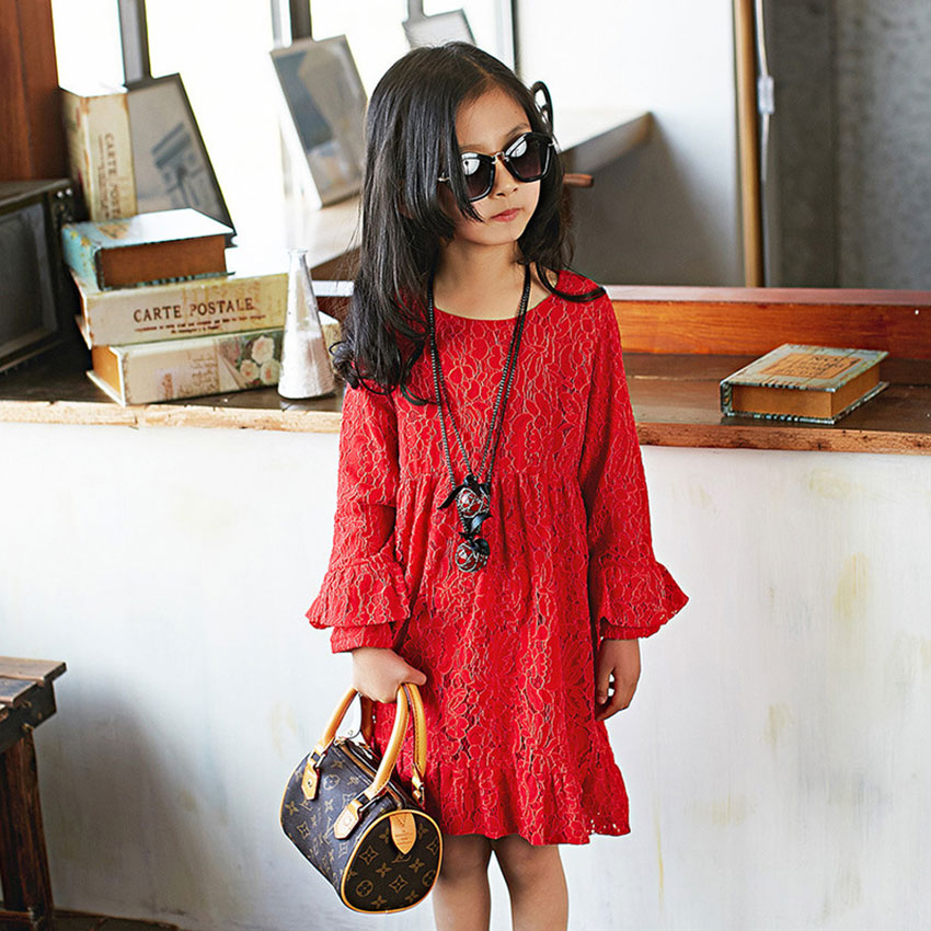 a82f9988d7 2016 New Kids Clothes Girls Spring Beautiful Lace Dress 4 to 12 Years Old  Baby Long Sleeve Princess Sundress Party Dress