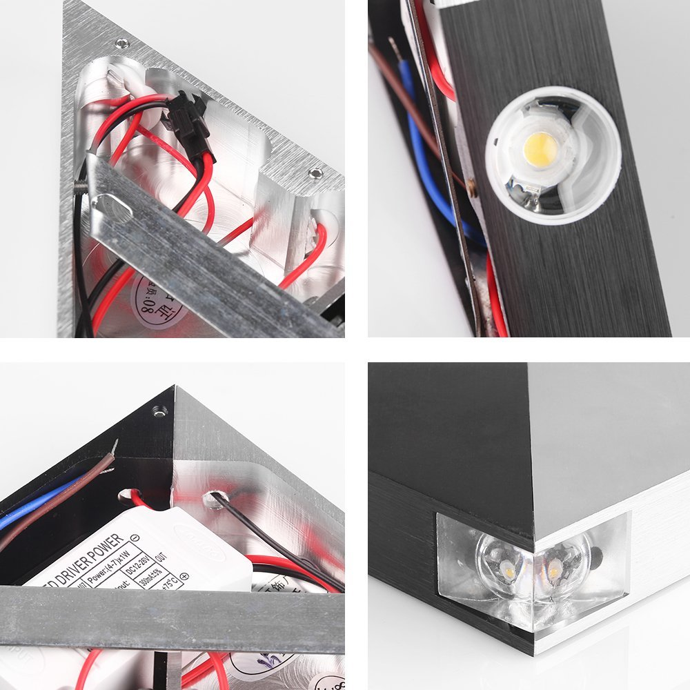 Modern Triangle 4w Led Wall Multicolor Sconce Spot Light Fixture No Wiring Sconces Indoor Hallway Up Down Lamp Aluminum Decorative Lighting In Lamps