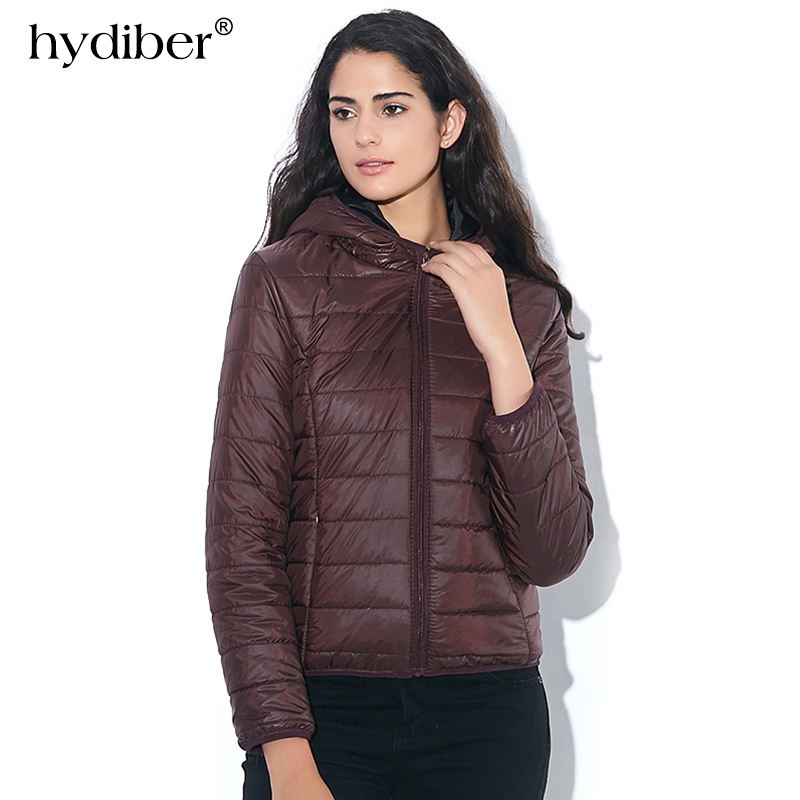 HYDIBER 2018 New Brand Fashion Vinterjacka Kvinnor Cotton Hooded Kvinnors Långärmad Basic Coat Casual Slim Solid Parkas