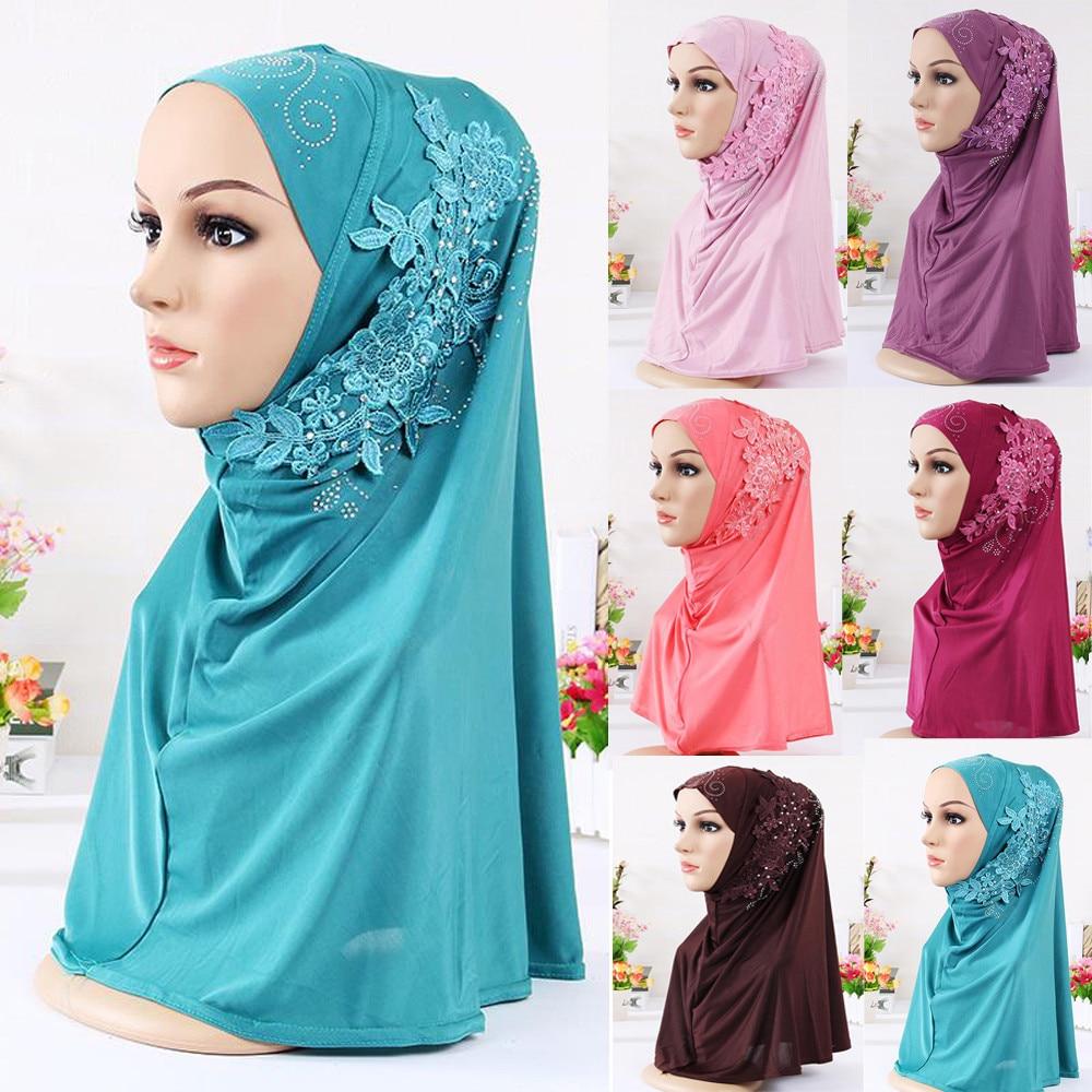 Summer Fashion muslim hijabs   scarves   Woman Ladies Cotton Solid Turban Hat Chemo Cap Hair Loss Head   Scarf     Wrap   Hijib Cap A10 AP17