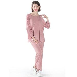 Image 5 - Женская пижама, комплект из двух предметов, Женский мягкий размер плюс, эластичные повседневные свободные костюмы с длинными рукавами, пижамы для женщин, домашние костюмы shein