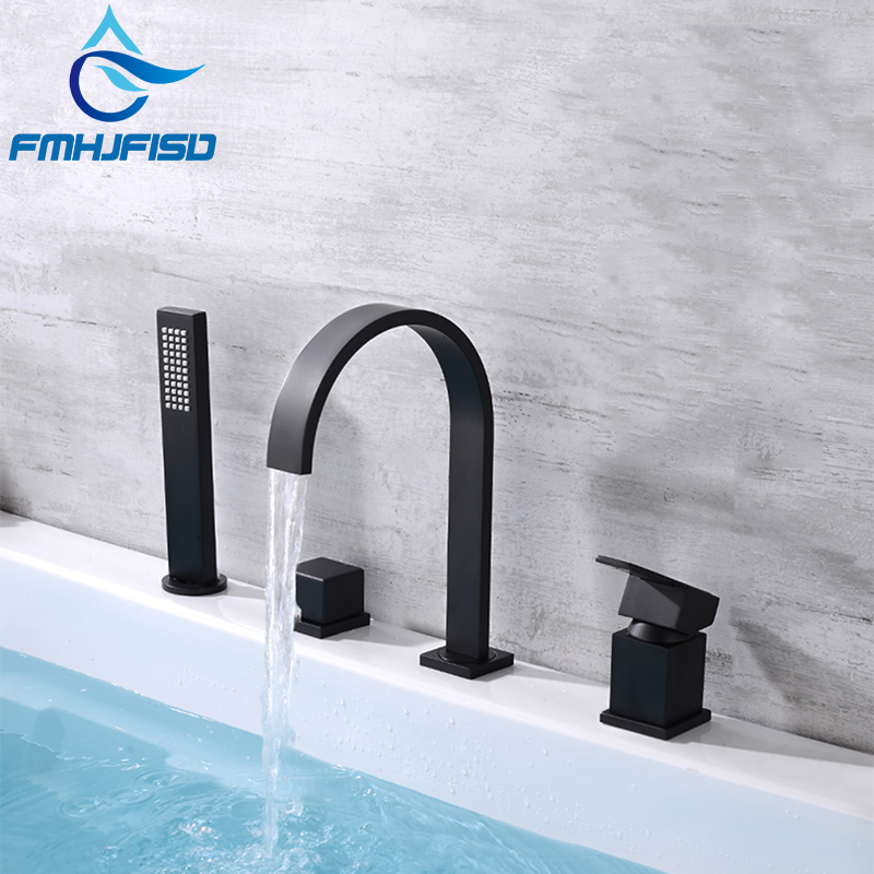 FMHJFISD Black Matt 4 pcs Basin Faucet Bathroom Faucet Sink Hot Cold Concealed Mixer Crane For