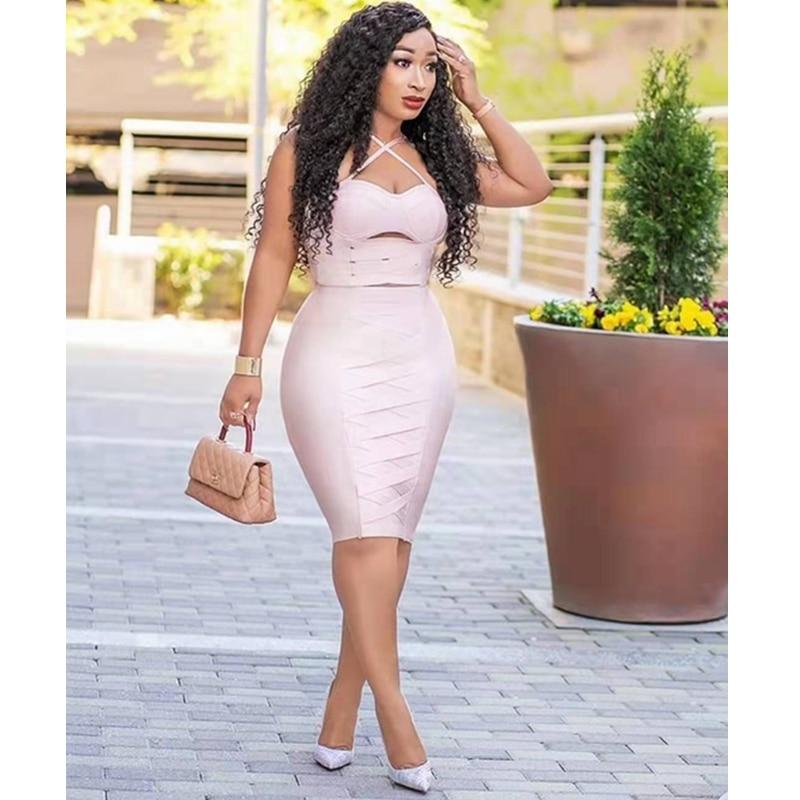 Robe d'été pour femmes 2019 chic spaghetti sangle sexy évider bretelles bandage robe rose célébrité fête robes de festa