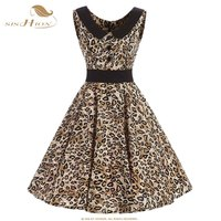 SISHION Women Cotton Dress Sleeveless Button Decoration Leopard Print Sexy Dresses Plus Size 50s Vintage Party