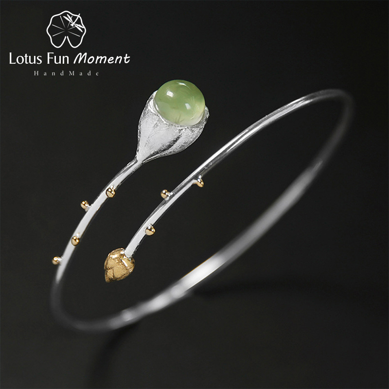Lotus Fun Moment Real 925 Sterling Silver Natural Stone Handmade Designer Fashion Jewelry Elegant Lotus Buds Bangles for Women стоимость