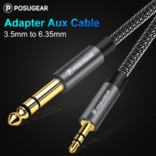 цена на Posugear 3.5mm to 6.35mm Jack Adapter Gold Plated Aux Cable for Amplifier CD Player Speaker 3.5 to 6.5 Male to Male Audio Cable
