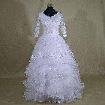 2019 New Elegant Vintage Half Sleeve Wedding Dress Amazing Ruffles Vestido De Noiva Wedding Bridal Gowns