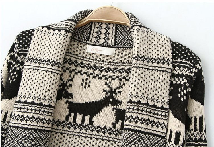 Women new design Christmas sweaters Nordic Reindeer knitted ...