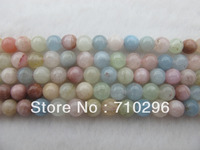 wholesale 3strings natural Morganit stone 10mm round Bery l Gem stone loose beads fit necklace DIY
