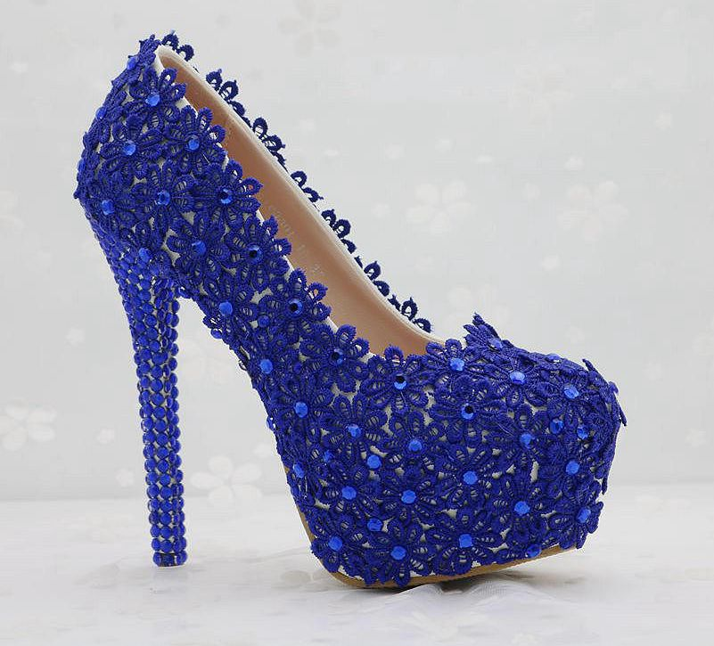 ФОТО Super high 14CM heeld womens blue lace pumps shoes round toes TG597 platforms PARTY shoes WEDDING shoes crystal rhinestone blue