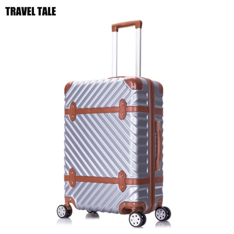 "TRAVEL TALE 20""24""26""28"" inch abs vintage trolleys suitcase hardside spinner rolling luggage bag on wheels"
