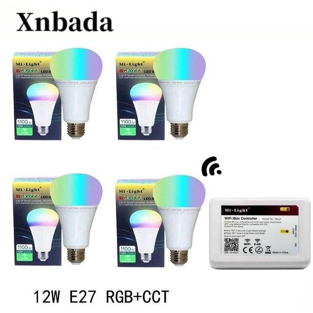 Mi lumière 12 W lampe à Led E27 RGB + CCT Led ampoule + iBX2 RF télécommande wifi Led projecteur lumière variateur Led lumière AC85-265V livraison gratuite