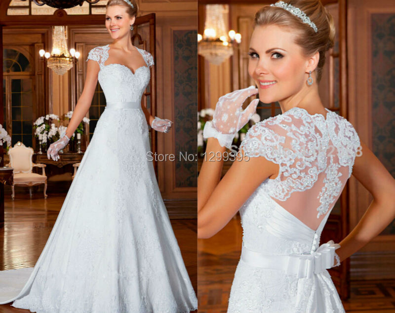 Fashionable Grace Loves Lace Cap Sleeves Sweetheart