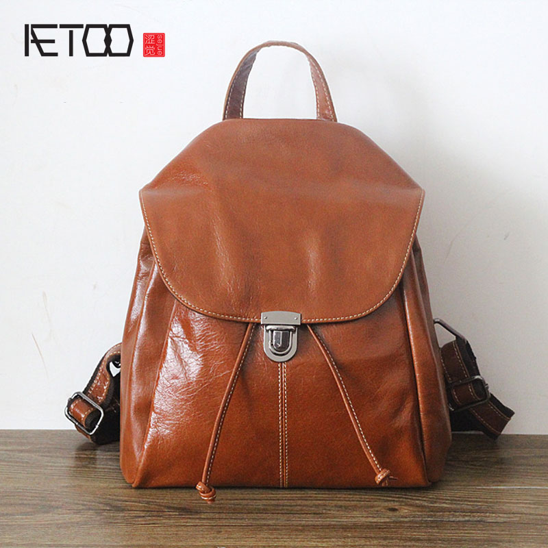 AETOO layer of leather backpack women shoulder bag Korean women leather travel backpacks shoulder bags women genuine leather swdvogan new travel backpack korean women rucksack pocket genuine leather men shoulder bags student school bag soft backpacks