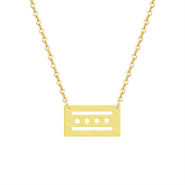 Minimalism Jewelry Rose Gold Chicago Flag Necklaces Pendants