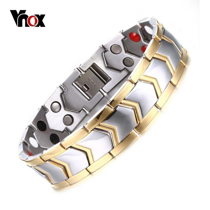 Prix pour Vnox sain acier inoxydable magnétothérapie bracelet hommes bijoux nouvelle mode bio énergie aimant bracelets & bangles